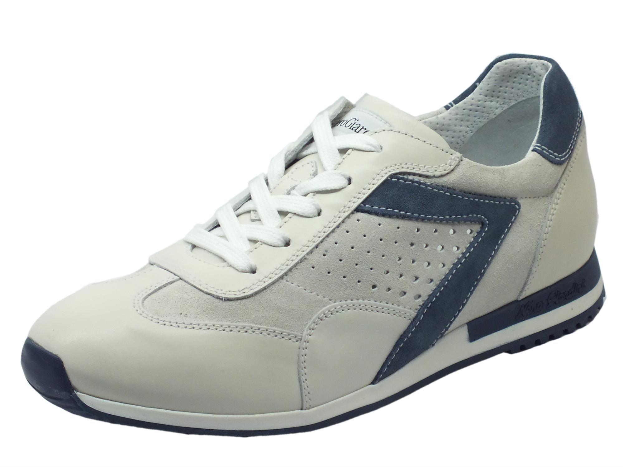 Scarpe sportive NeroGiardini uomo pelle camoscio bianco - Vitiello ... ae695b11902