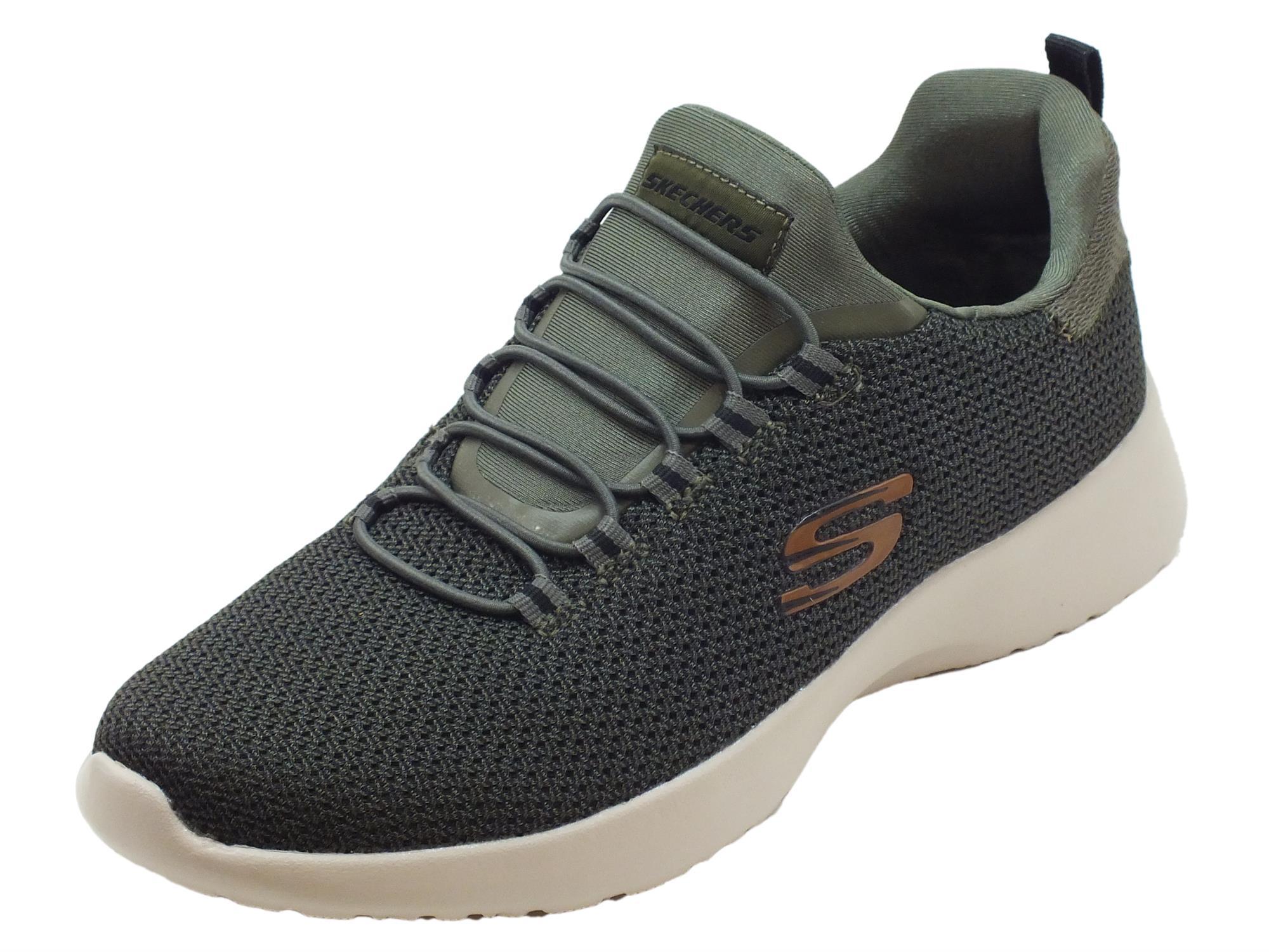 Scarpe Skechers Sport per uomo in tessuto colore oliva allaccio rapido