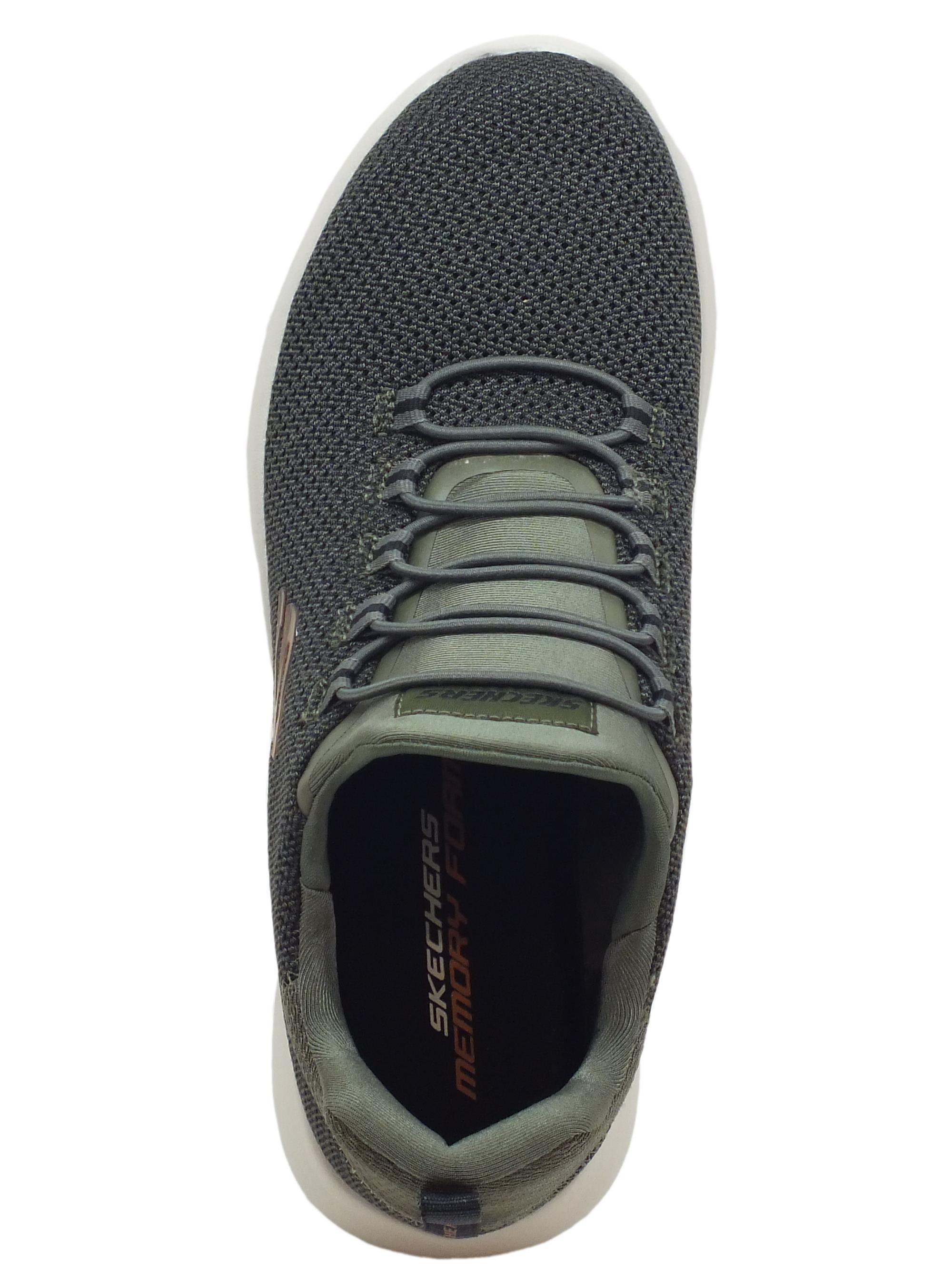 ... Scarpe Skechers Sport per uomo in tessuto colore oliva allaccio rapido cb7a6574b9f