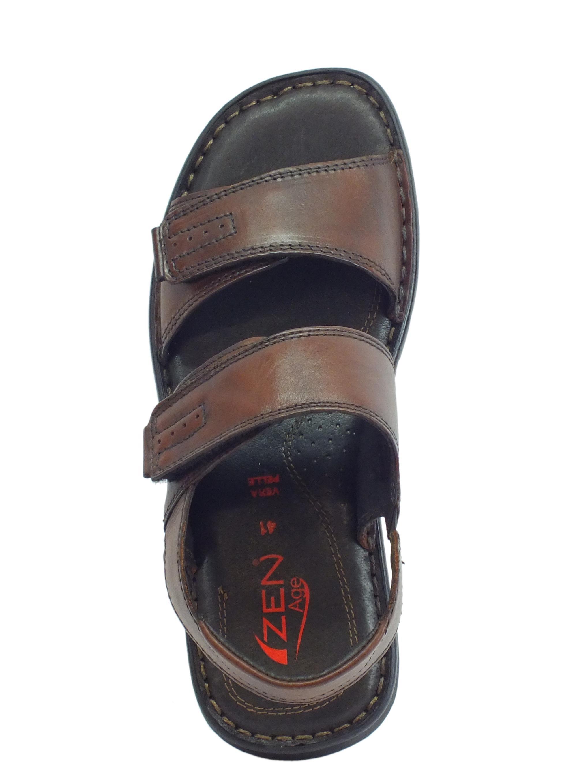 ... Sandali in pelle Zen per uomo testa di moro doppia chiusura a strappo ba531075460