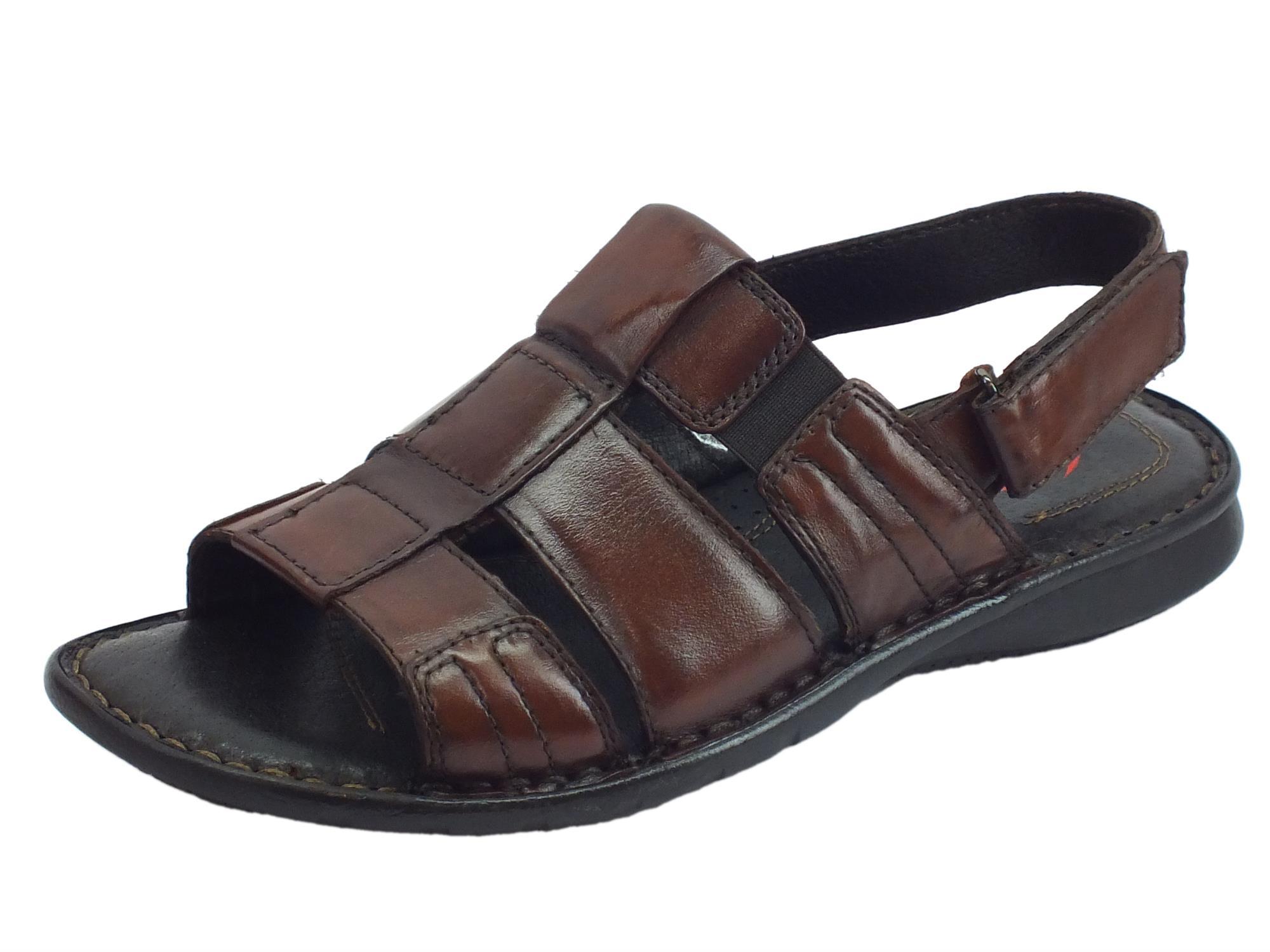 Sandali aperti pelle Zen uomo testa di moro chiusura a - Vitiello ... 6bbaba9306b