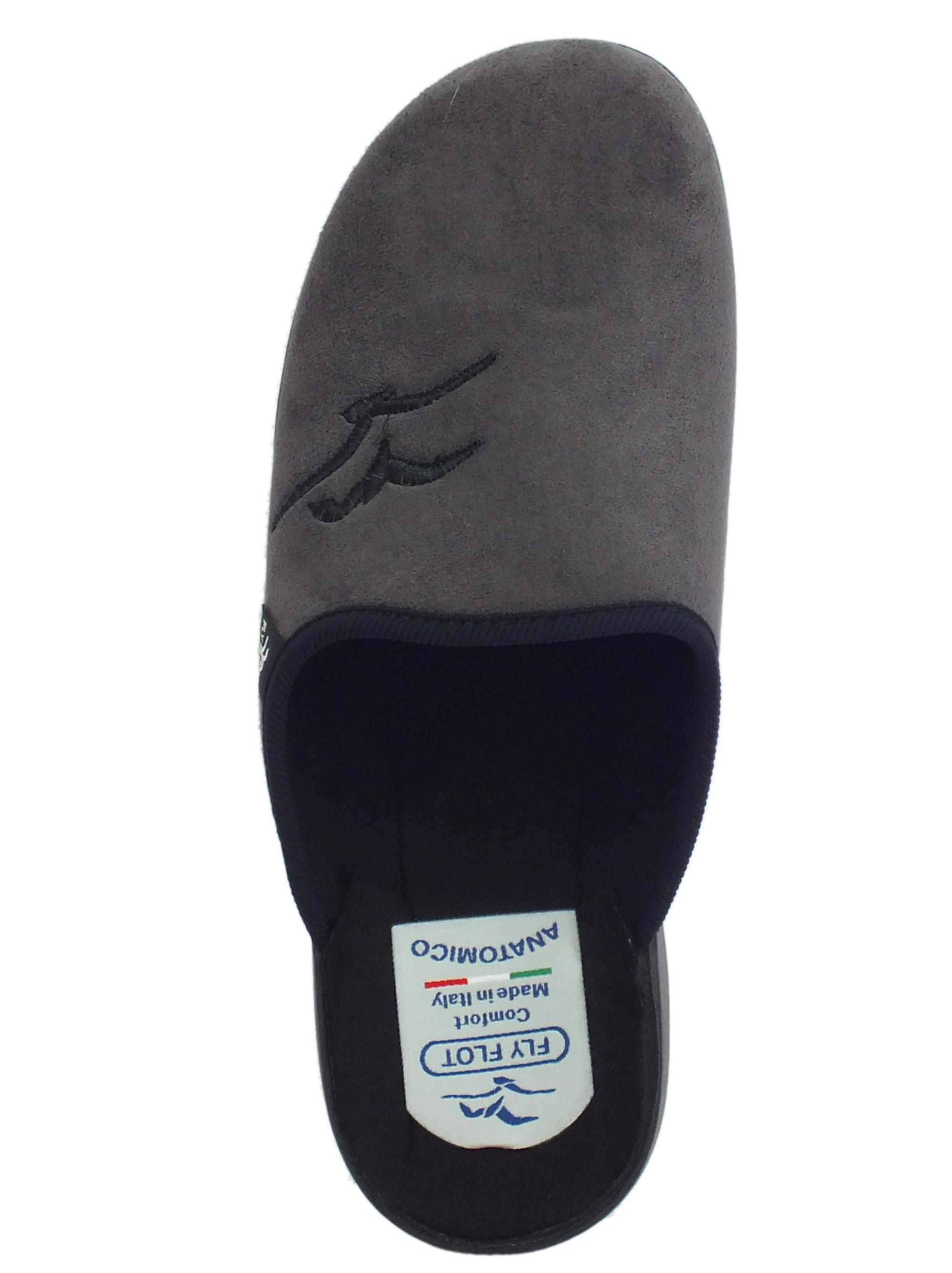 ... Pantofole FlyFlot per uomo in tessuto pile antracite sottopiede  anatomico 7844aaa0119