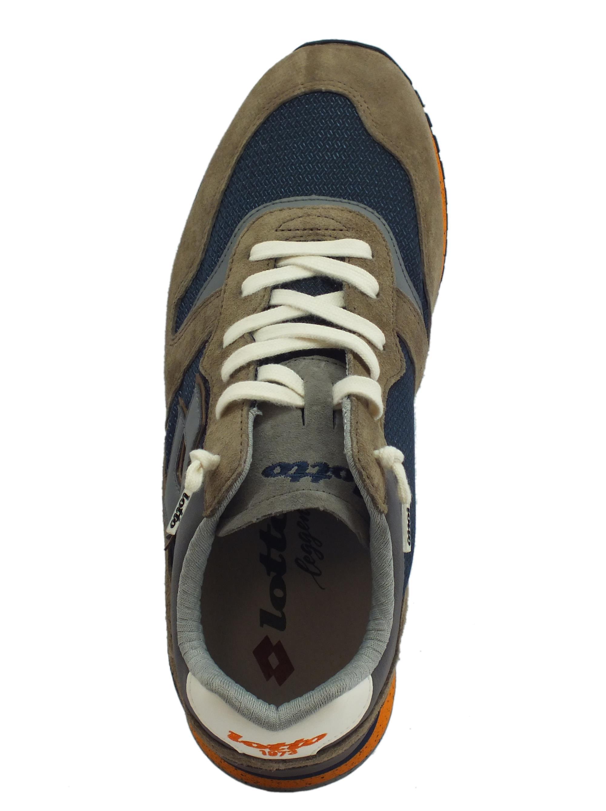 ... Scarpe Lotto Leggenda per uomo Tokyo Ginza in camoscio marrone e  tessuto blu bd9e70563d8