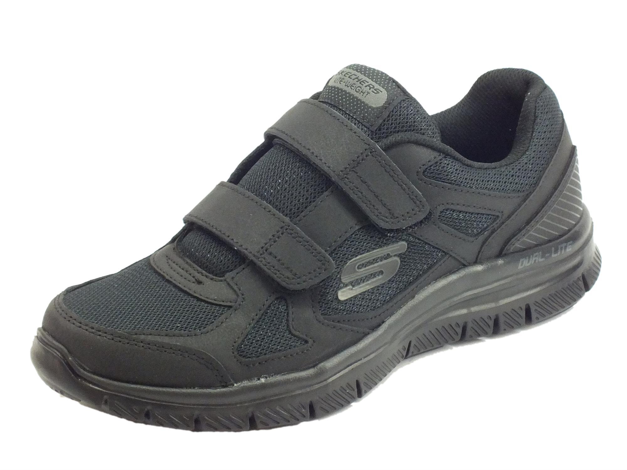 Scarpe Sportive Skechers ESTELLO per uomo in tessuto nero chiusura a strappo e050b8619b2