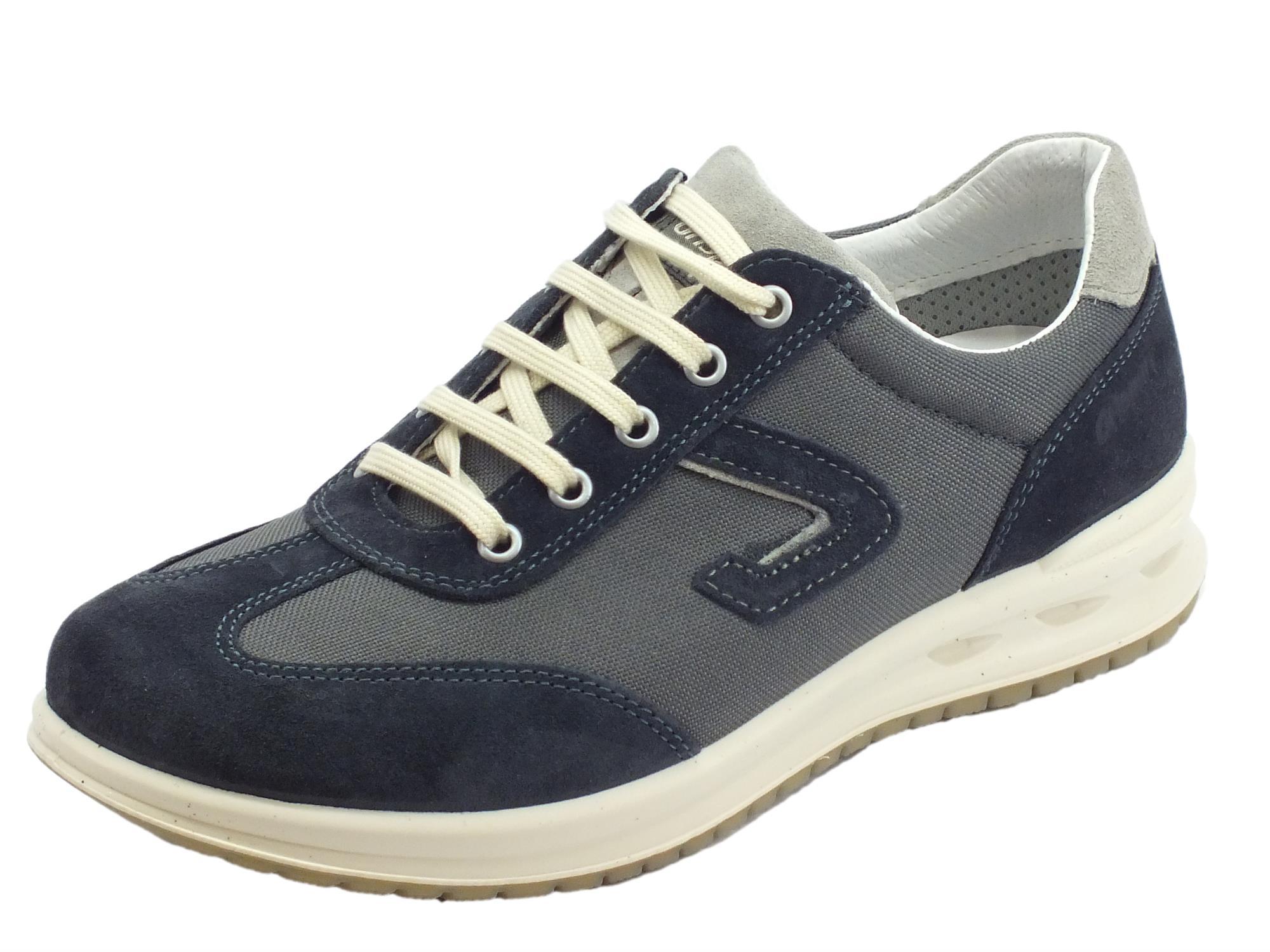 8ff063ed9b7c Grisport Active scarpe per uomo in camoscio e tessuto blu fondo antistatico