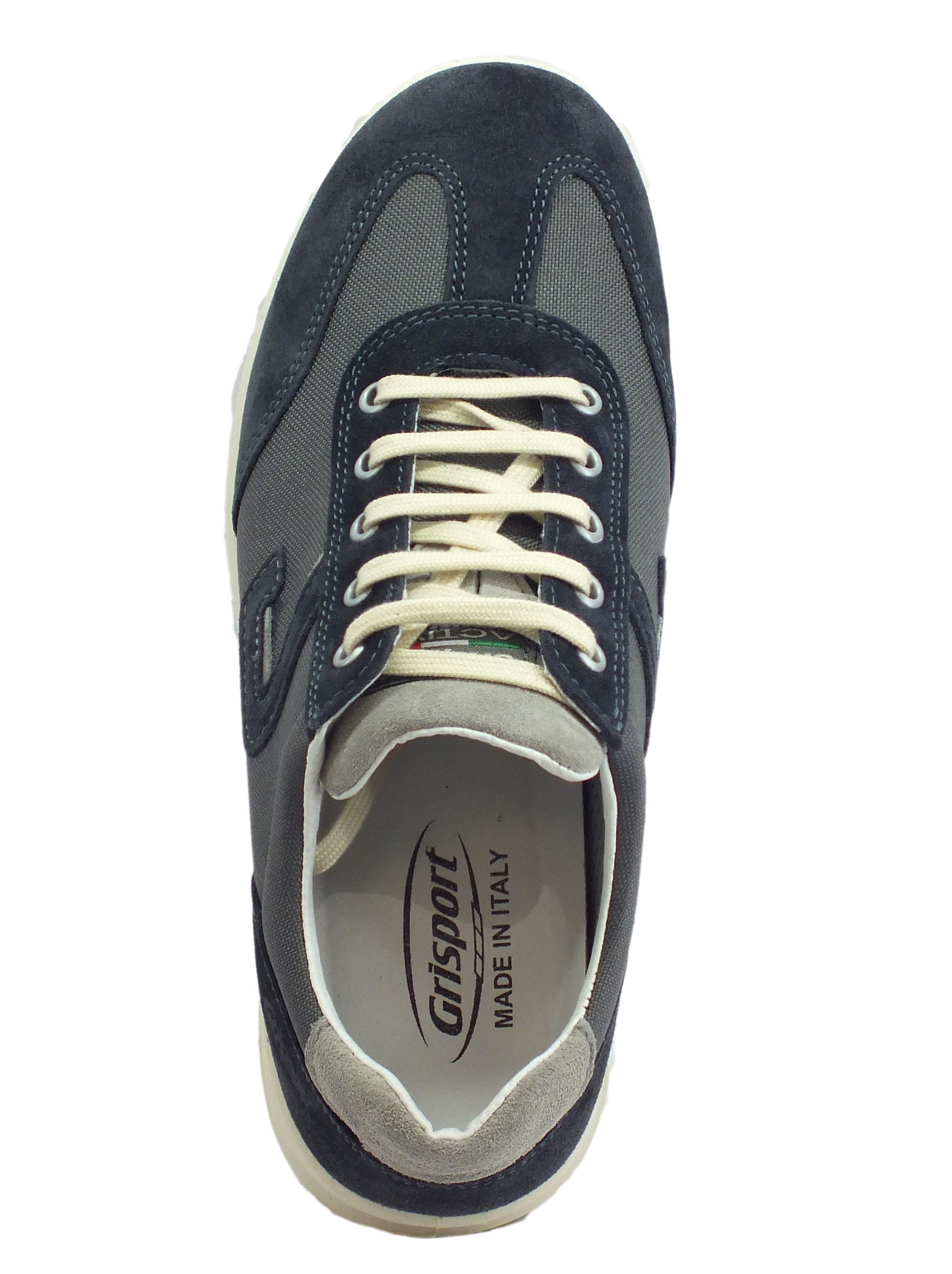 ae2e97955aaa ... Grisport Active scarpe per uomo in camoscio e tessuto blu fondo  antistatico