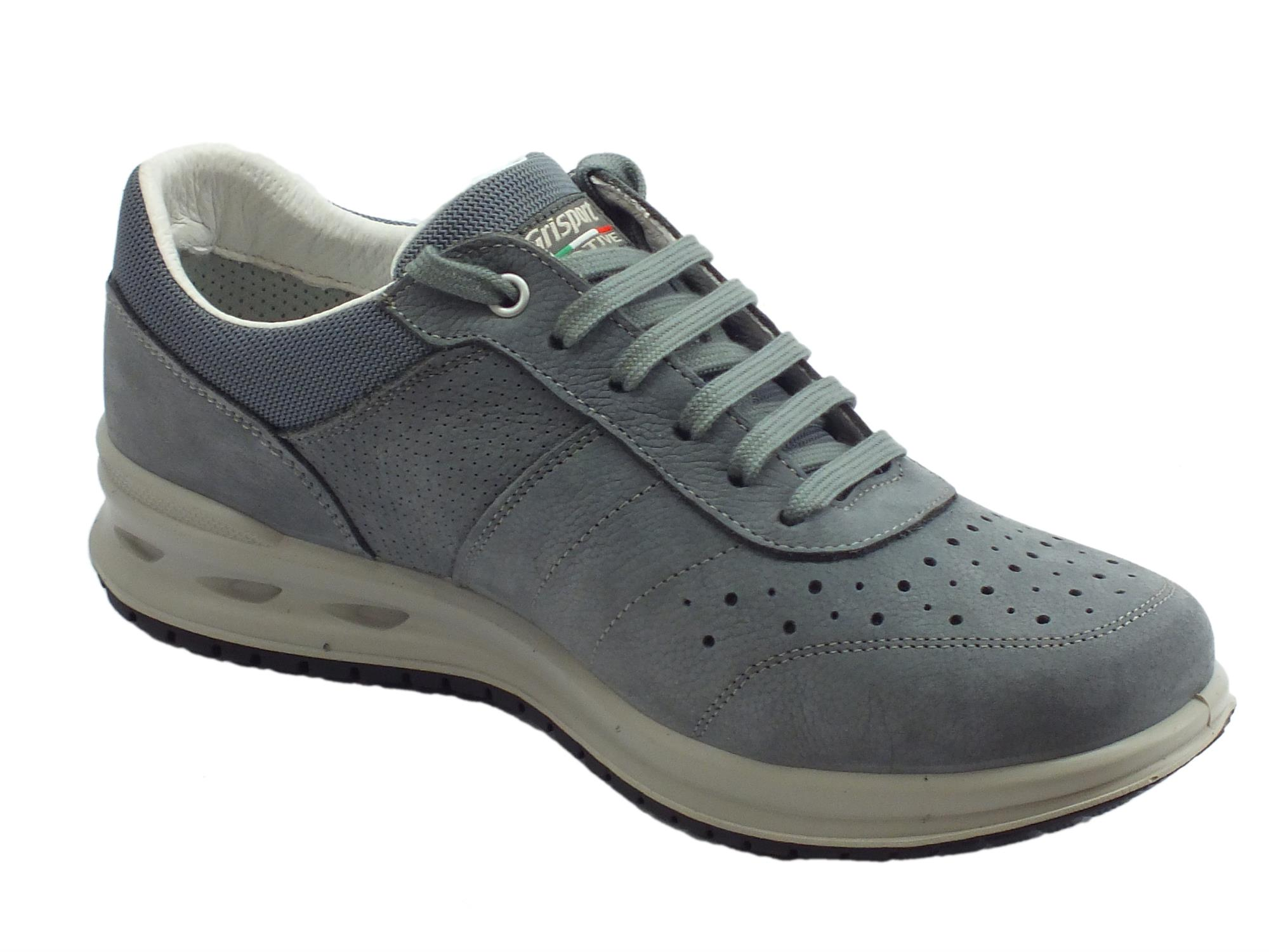 a22241f954ca ... Grisport Active antistatiche scarpe uomo in pelle stampata grigia ...
