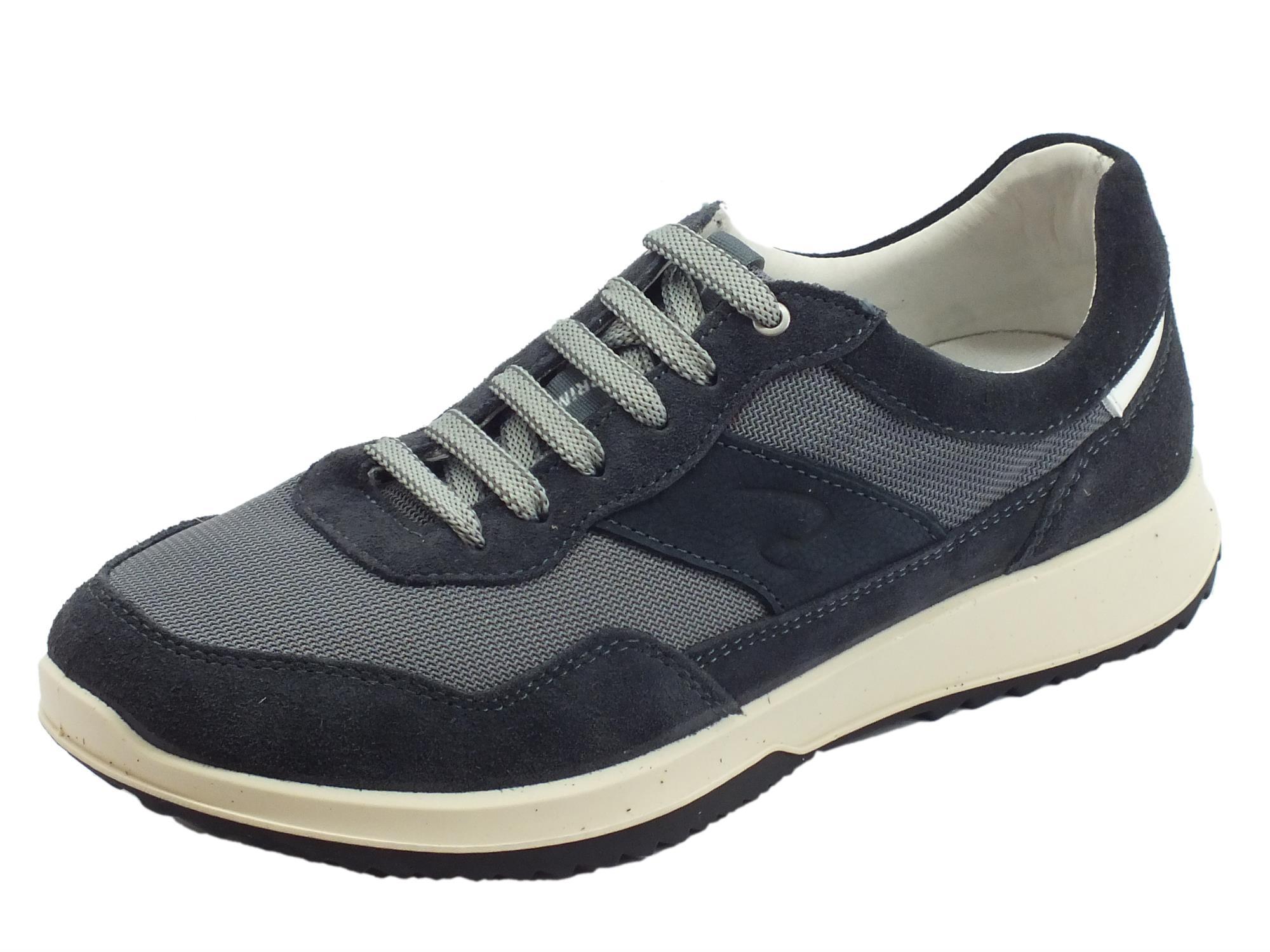 7996841714ff Grisport 43409V15 Deep Vesuvio scarpe uomo in nabuk e tessuto blu  antistatica