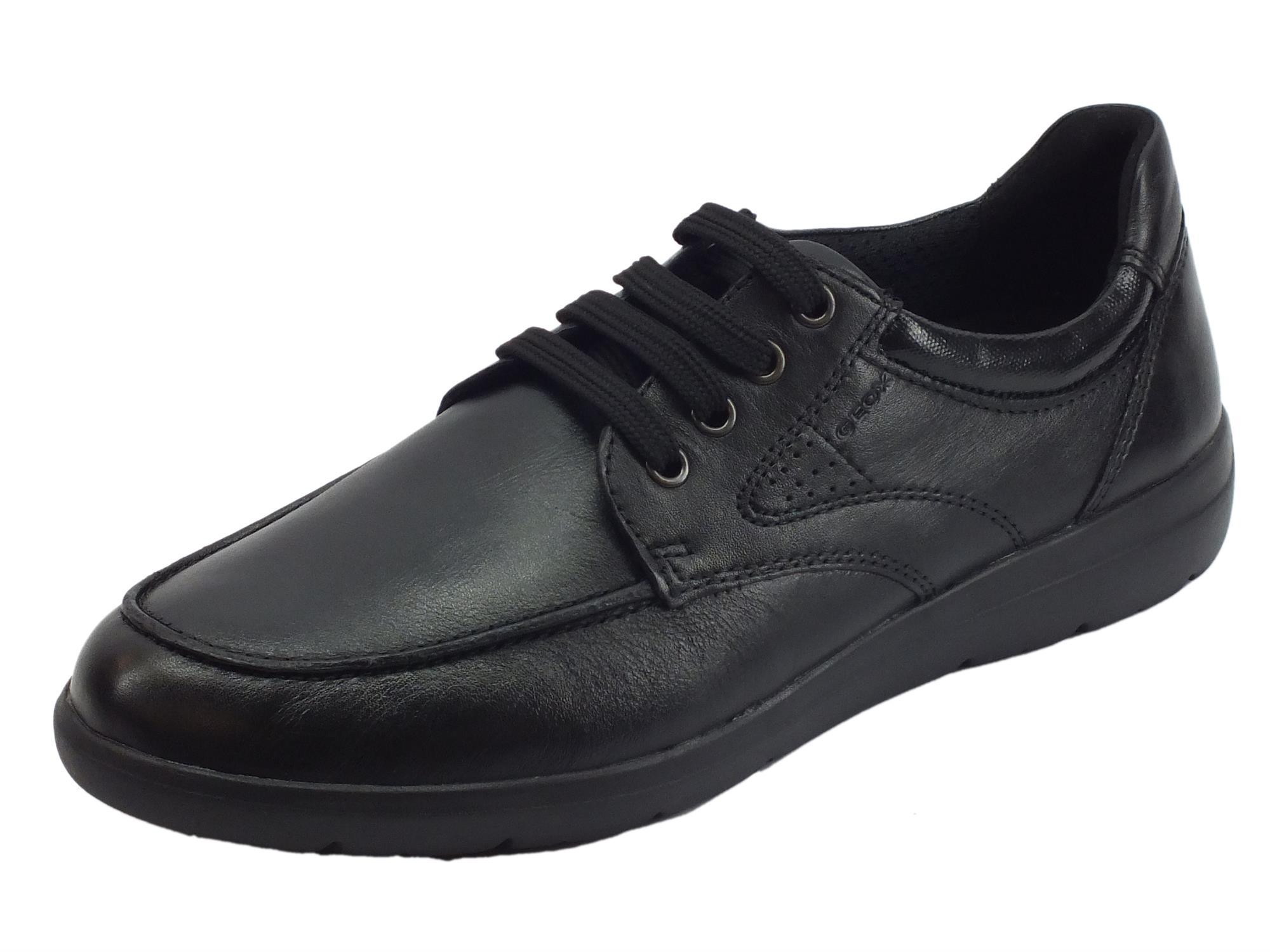 55a90e11ea3112 Geox U Leitan scarpe classiche uomo pelle nera - Vitiello Calzature