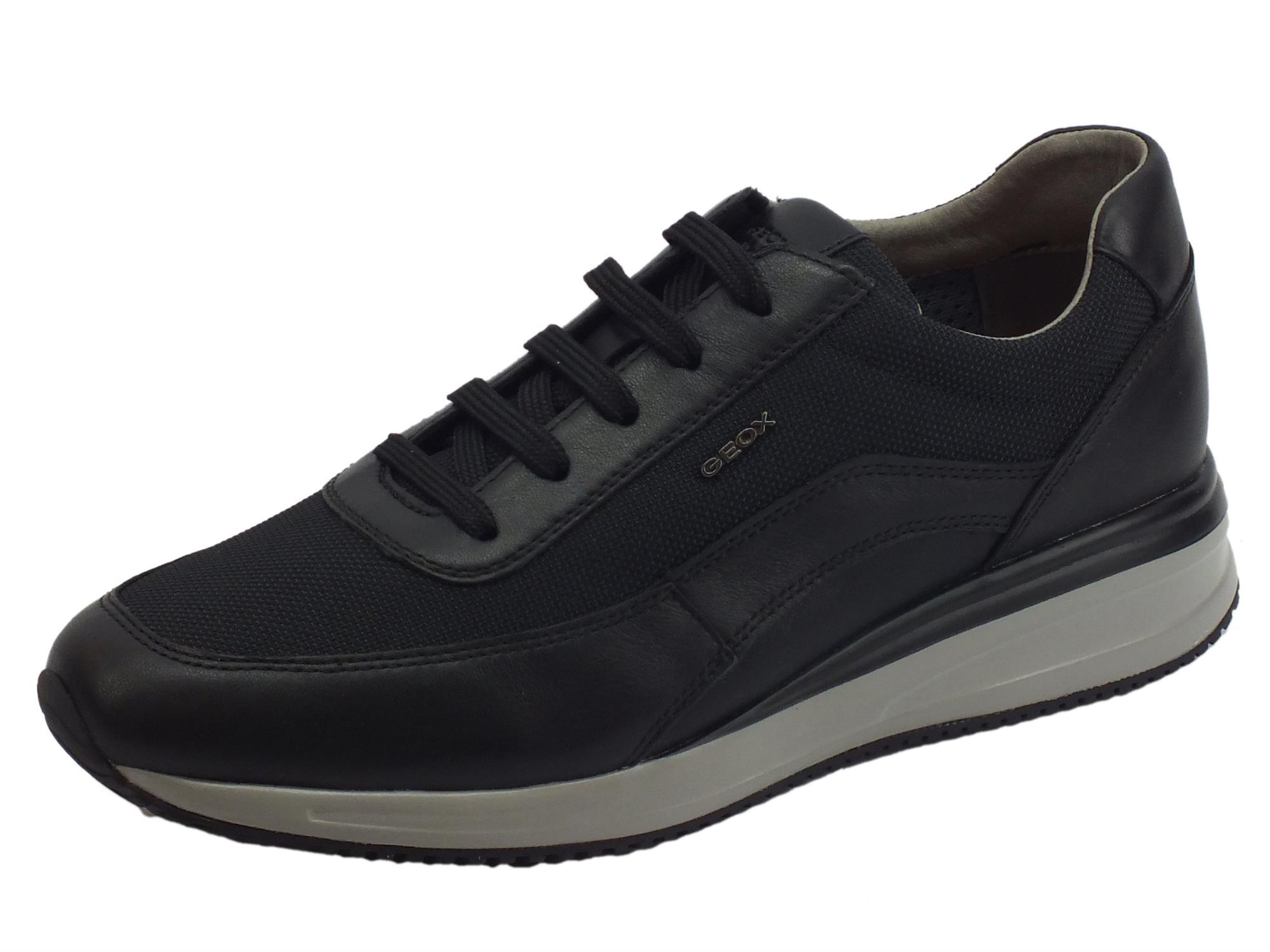 Hueso Sacrificio Maldito  Geox U Dennie sneakers uomo pelle tessuto nero sottopiede - Vitiello  Calzature