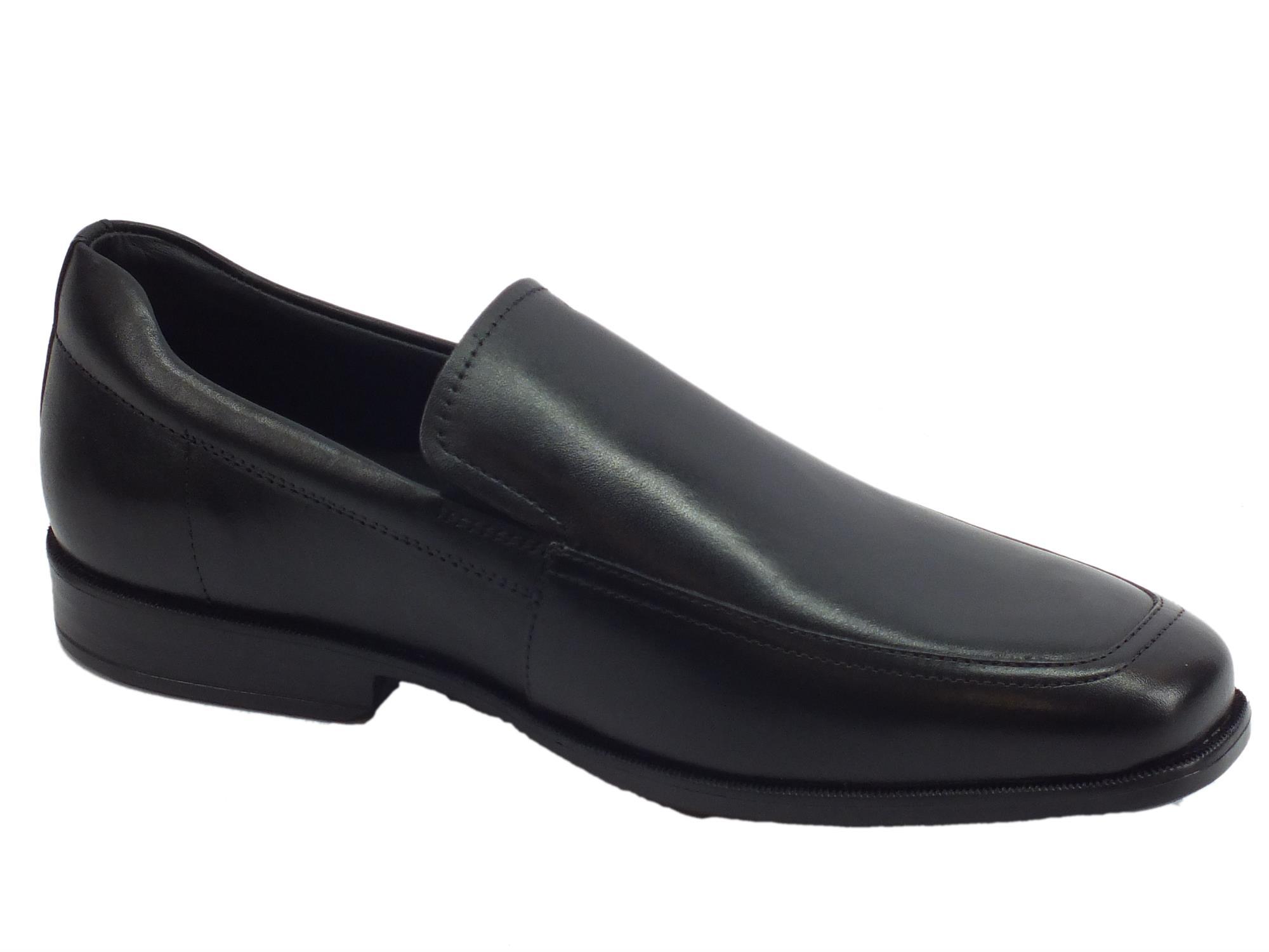Geox U Calgary mocassini classici ed eleganti per uomo in pelle nera
