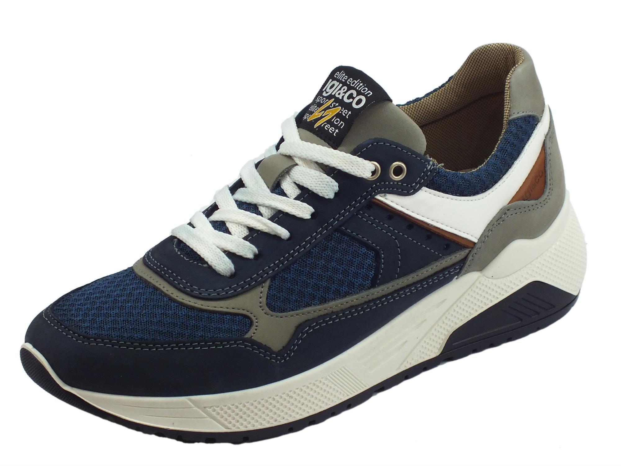 54852bbb82e1 Igi&Co elite edition sport street scarpe uomo in nabuk e tessuto azzurro