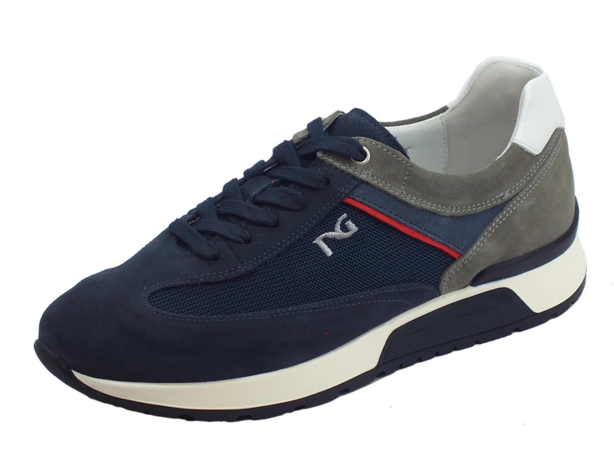 on sale bba66 1ae5c Scarpe sportive NeroGiardini per uomo in camoscio e tessuto blu e fumo