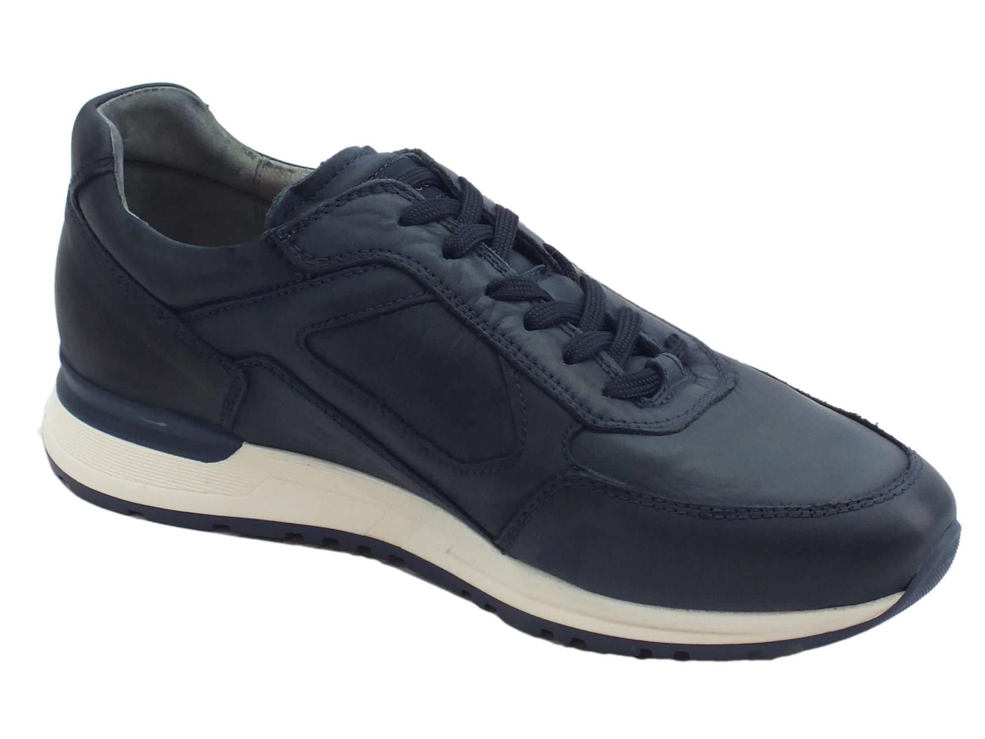 4b2093b00c10 ... Nerogiardini scarpe per uomo in pelle morbidissima colore blu ...