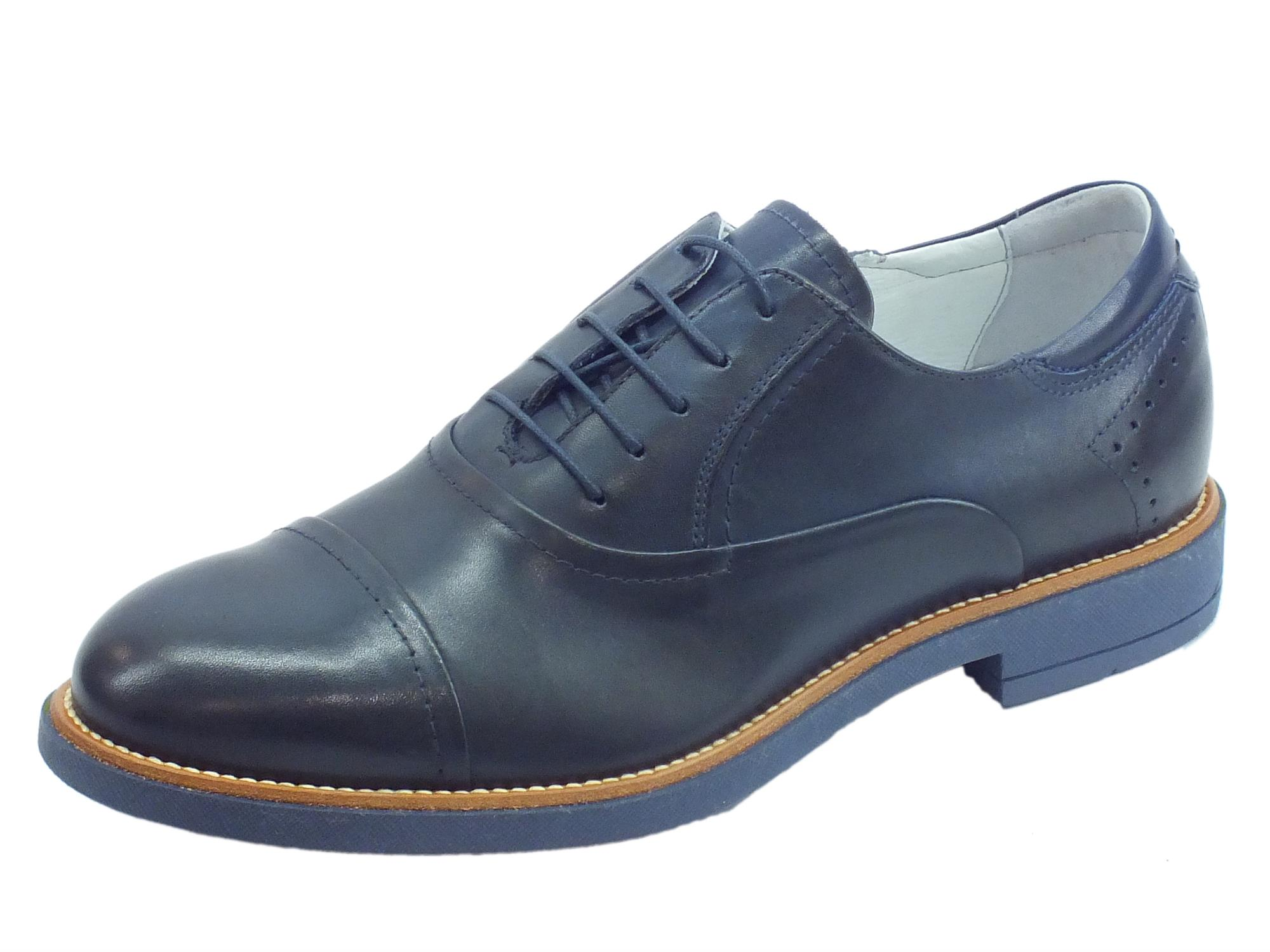 best sneakers 3017c 9959f Scarpe eleganti NeroGiardini per uomo in pelle blu fodera e sottopiede in  pelle