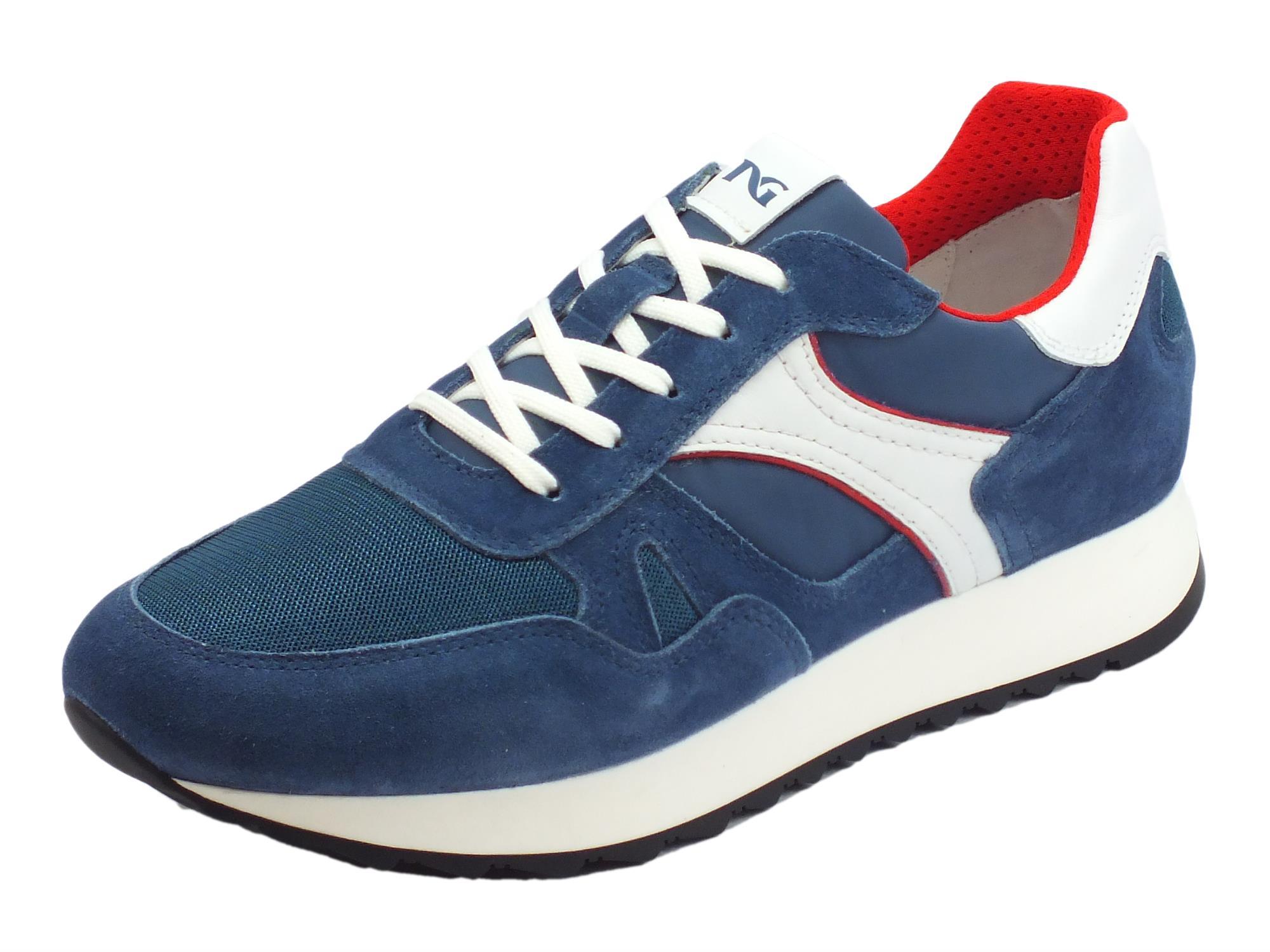 Scarpe sportive NeroGiardini per uomo in camoscio e tessuto blu pelle bianca 3dfb20fd8a6