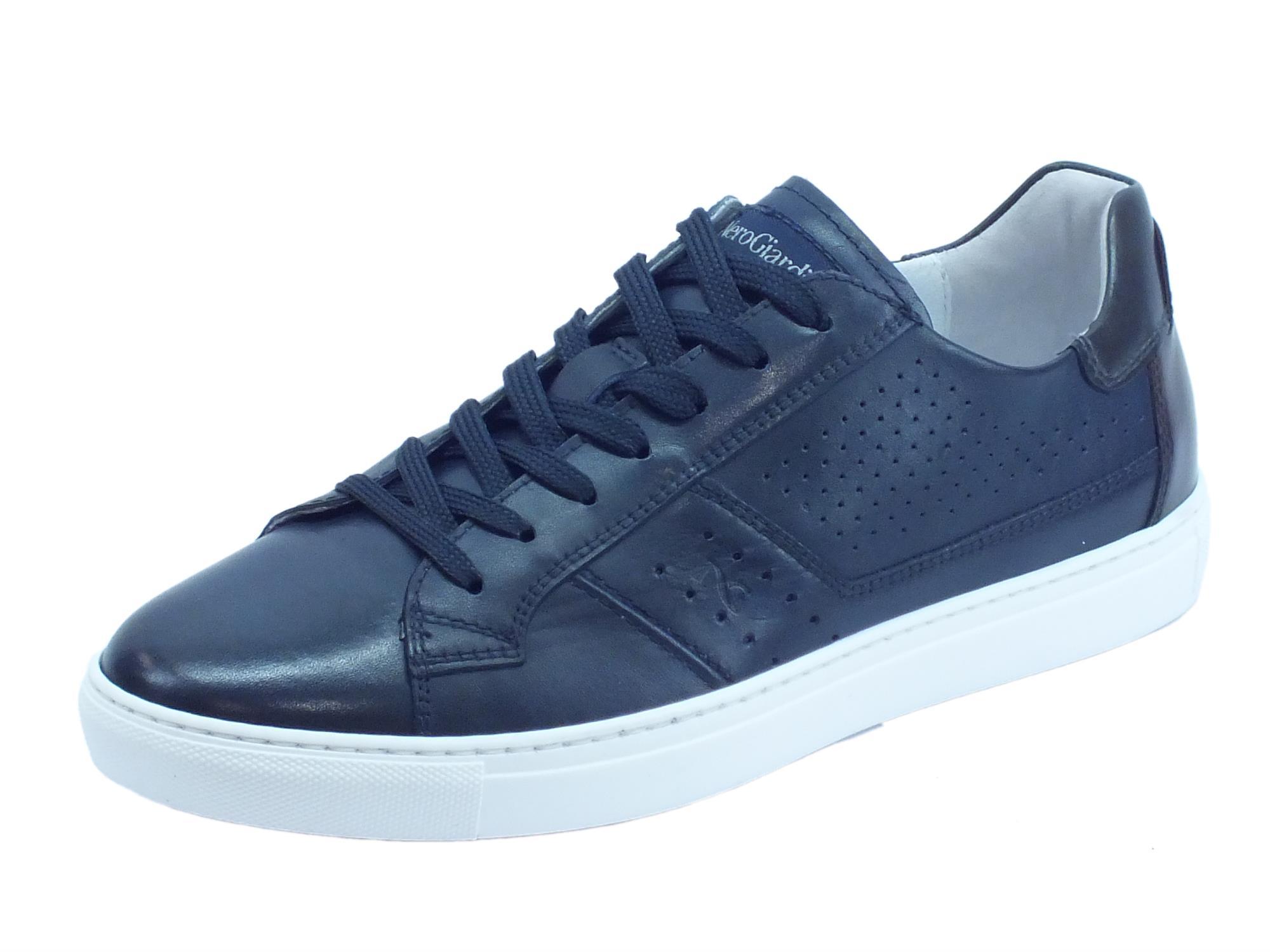 miglior servizio 61d55 b1a54 Scarpe sportive NeroGiardini per uomo in pelle Hold blu scuro