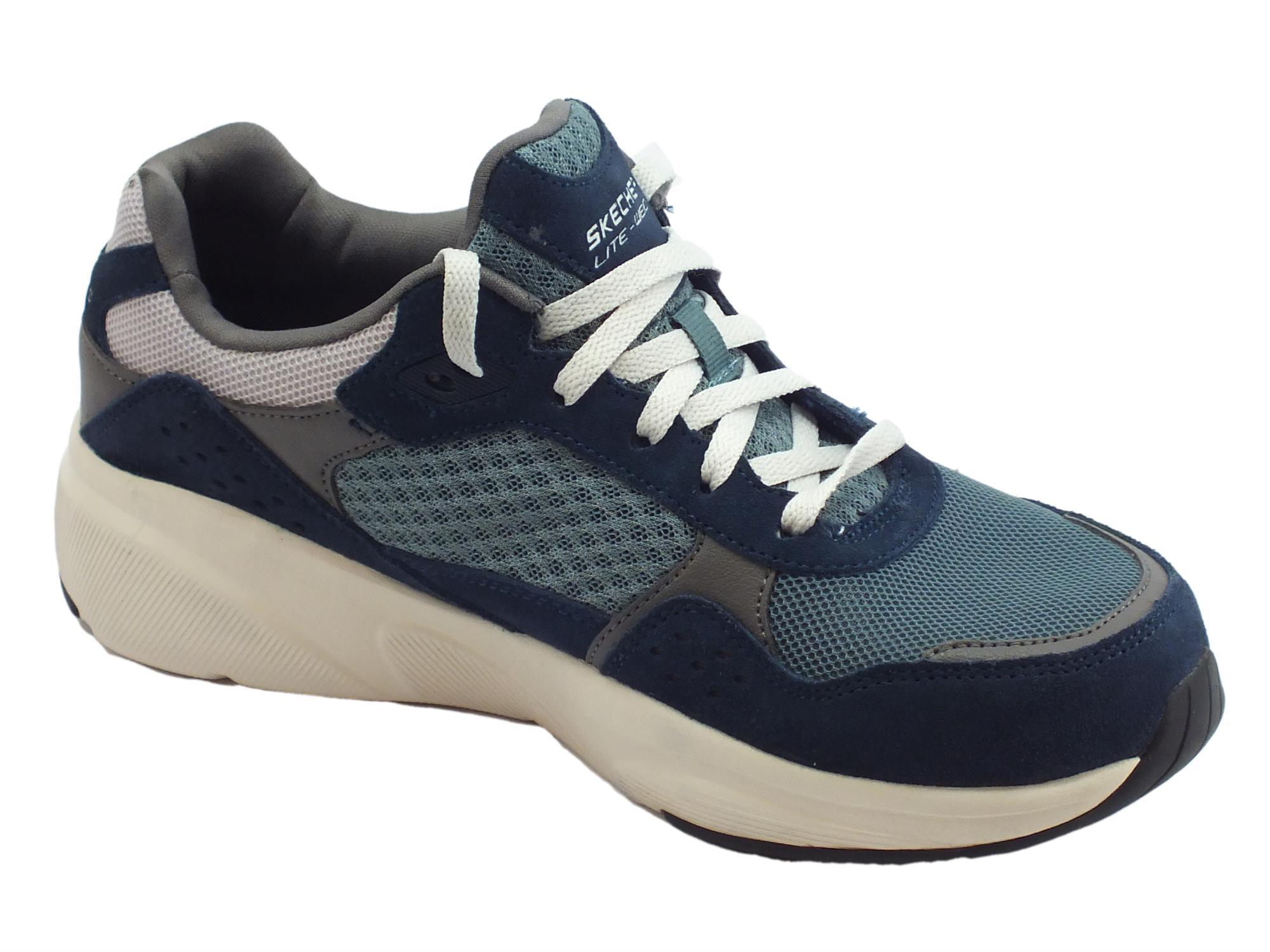 ... Skechers Meridian OstWall scarpe sportive uomo in pelle e tessuto blu  ... af74c55e5cb