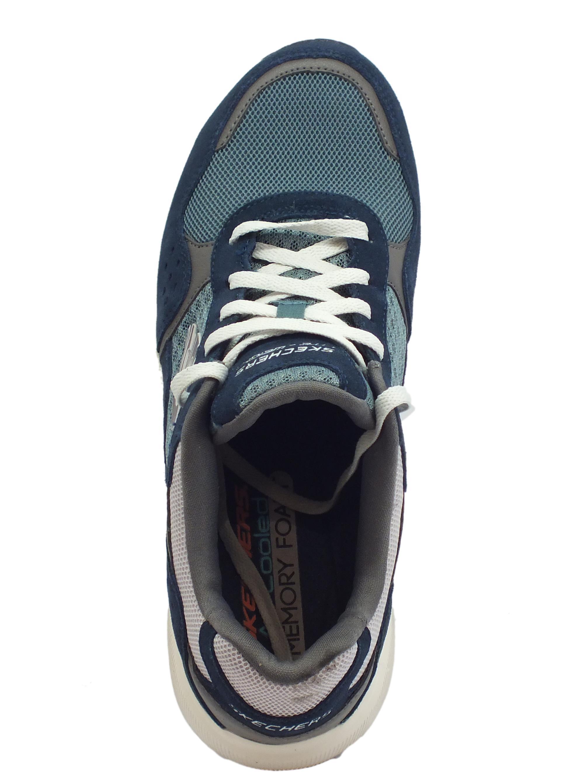 Skechers Meridian OstWall scarpe sportive uomo in pelle e tessuto blu