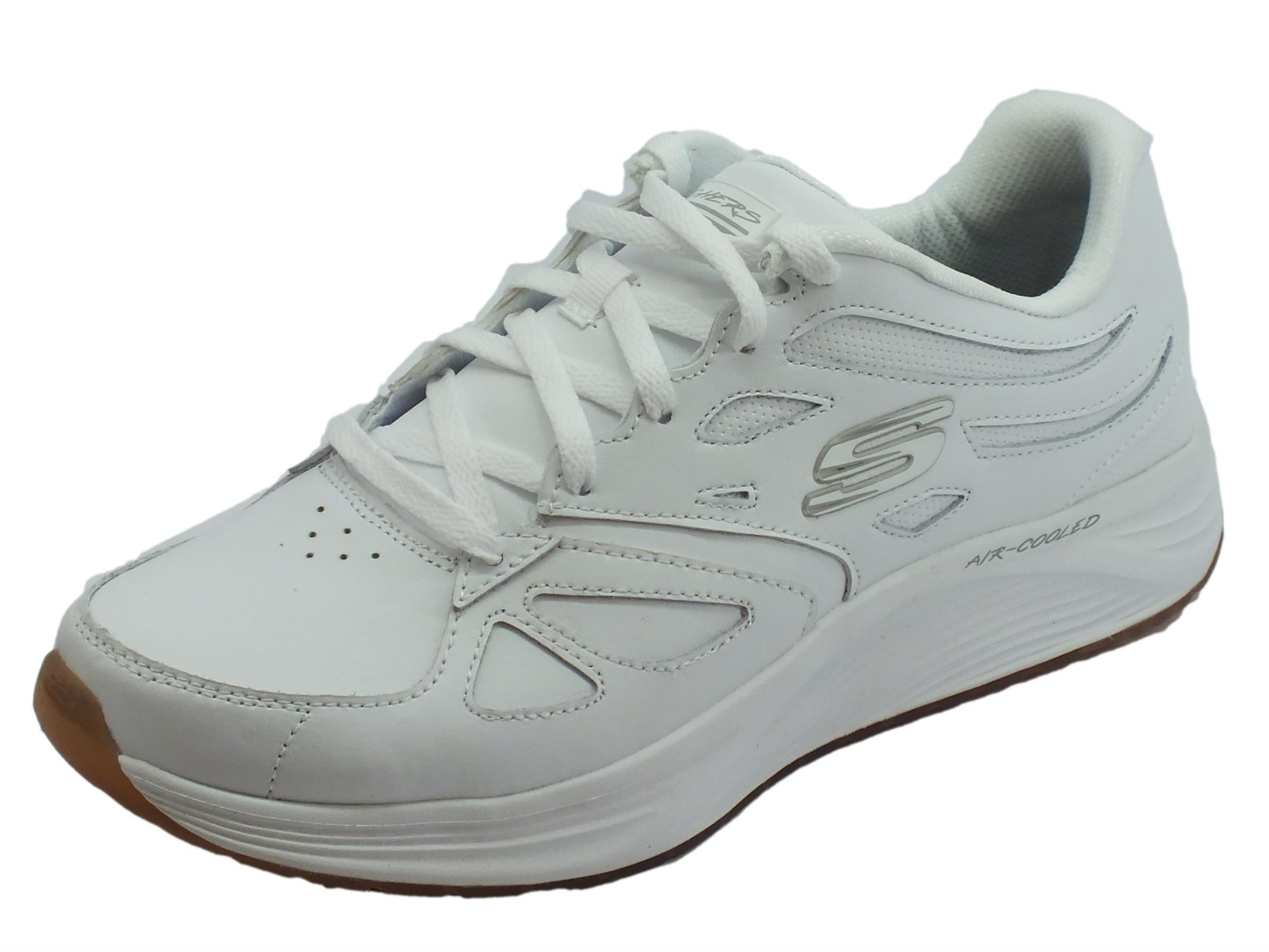 Skechers Skyline Woodmist White scarpe sportive uomo in pelle bianca 8d04a1416f6