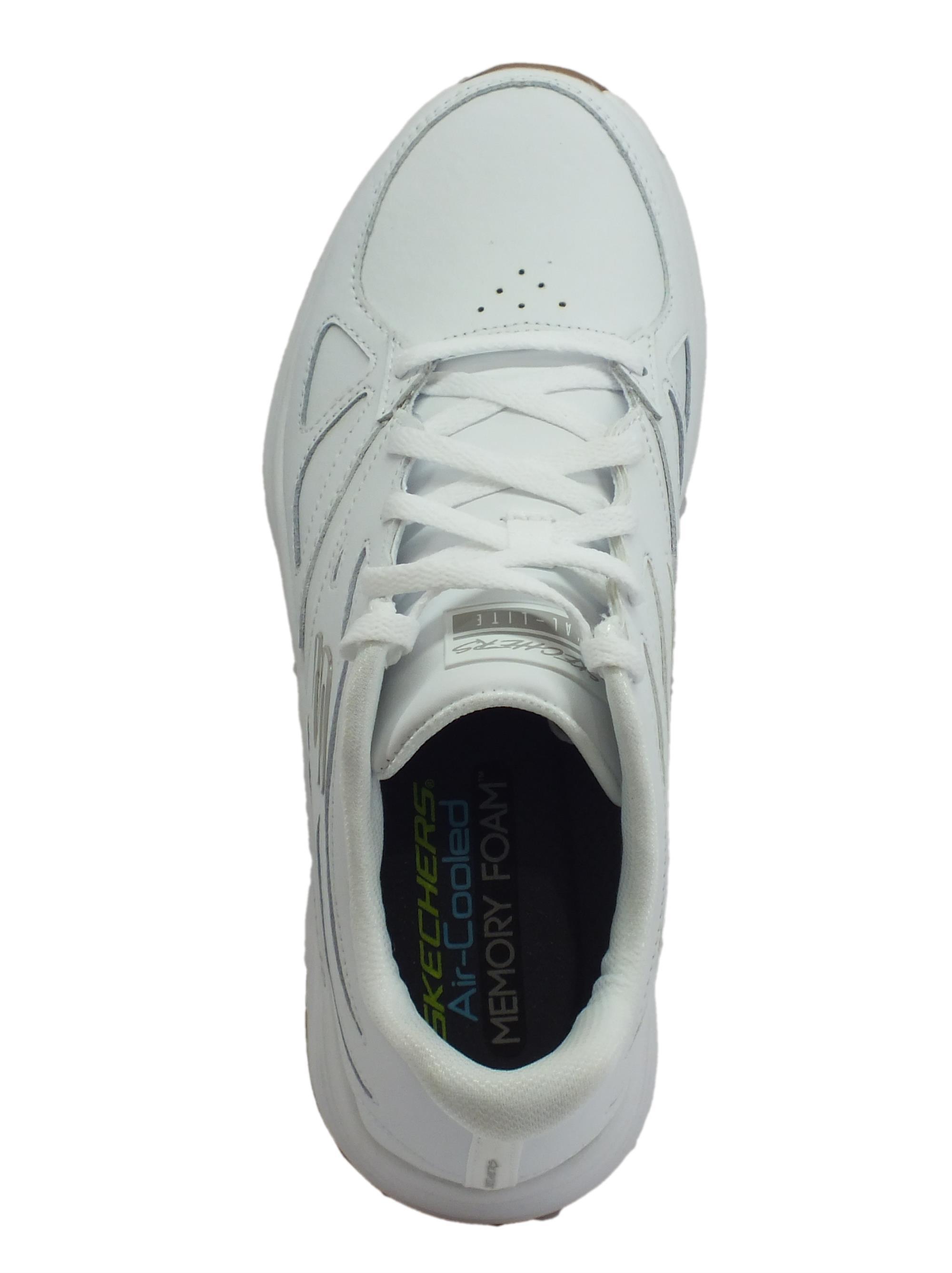 ... Skechers Skyline Woodmist White scarpe sportive uomo in pelle bianca aff3c8b3891