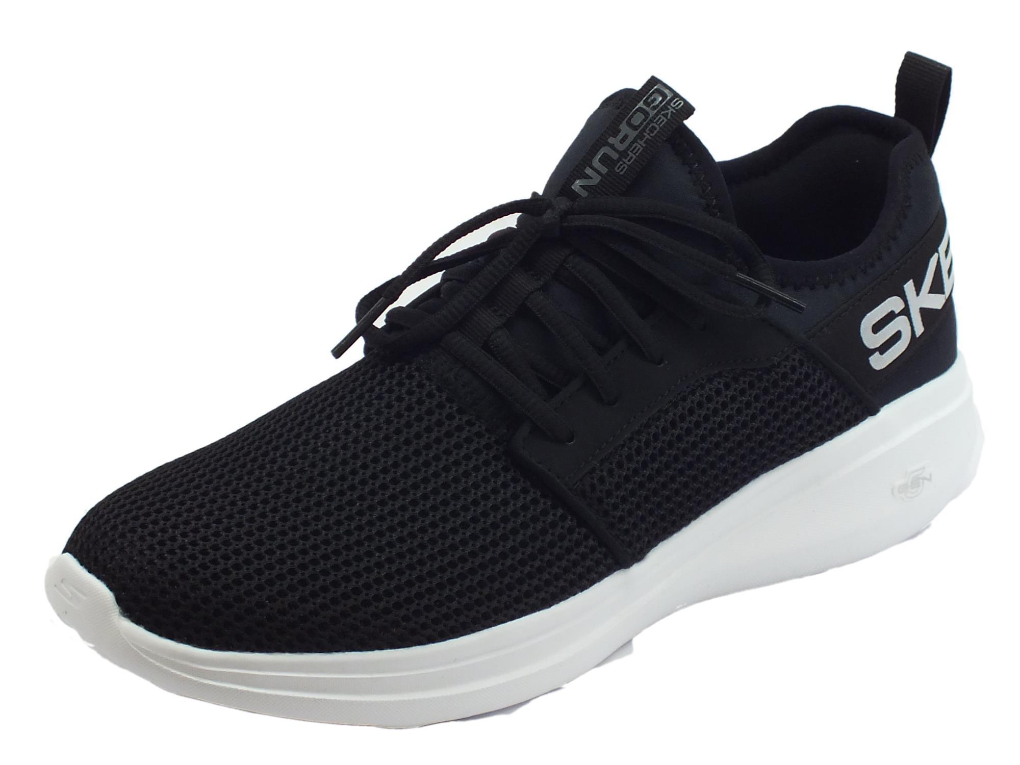 Skechers Go Run Fast Valor scarpe sportive uomo tessuto nero