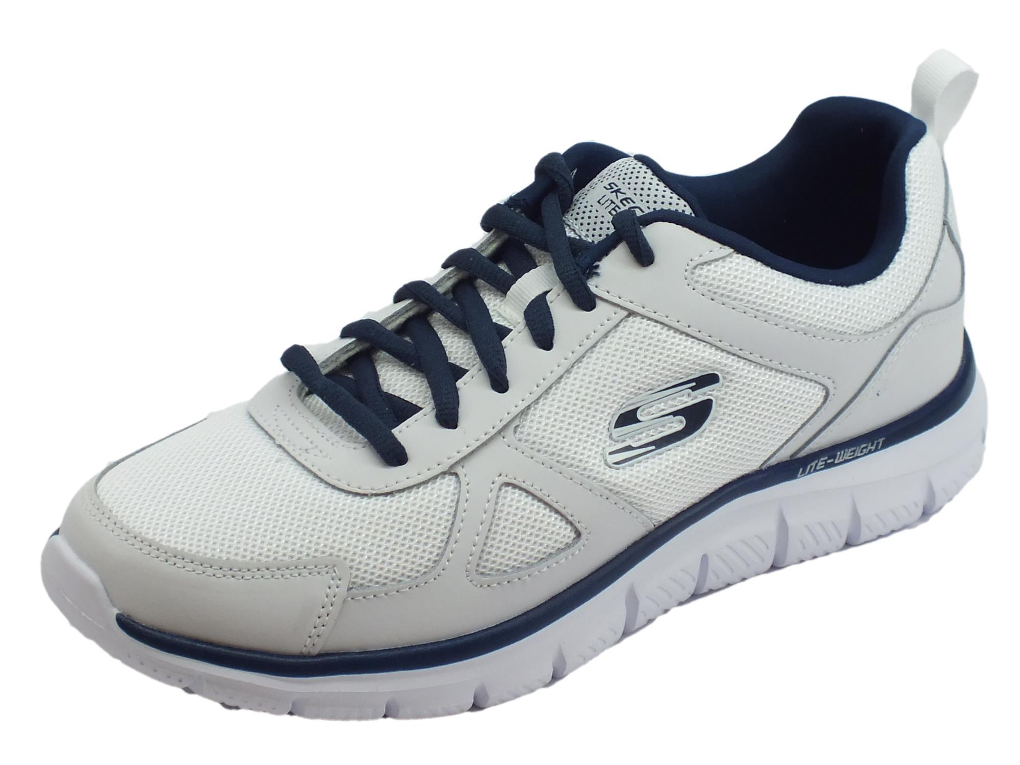 Skechers Sport Track Scloric scarpe sportive uomo in pelle e tessuto bianco  e blu 06f21f9721a