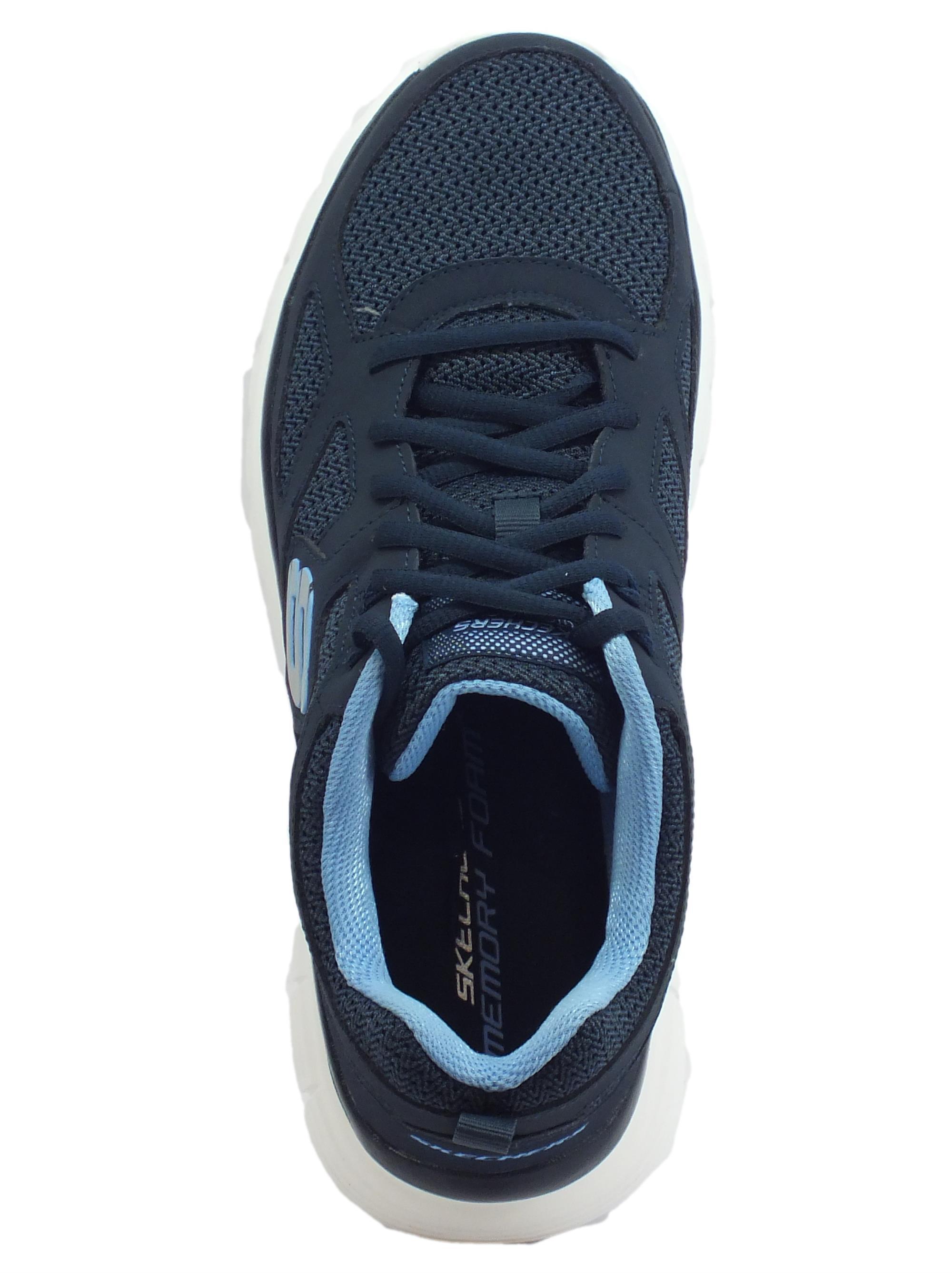 ... Skechers Sport Burns Agoura scarpe sportive uomo in pelle e tessuto blu  e celeste 4b7b9b25ed6