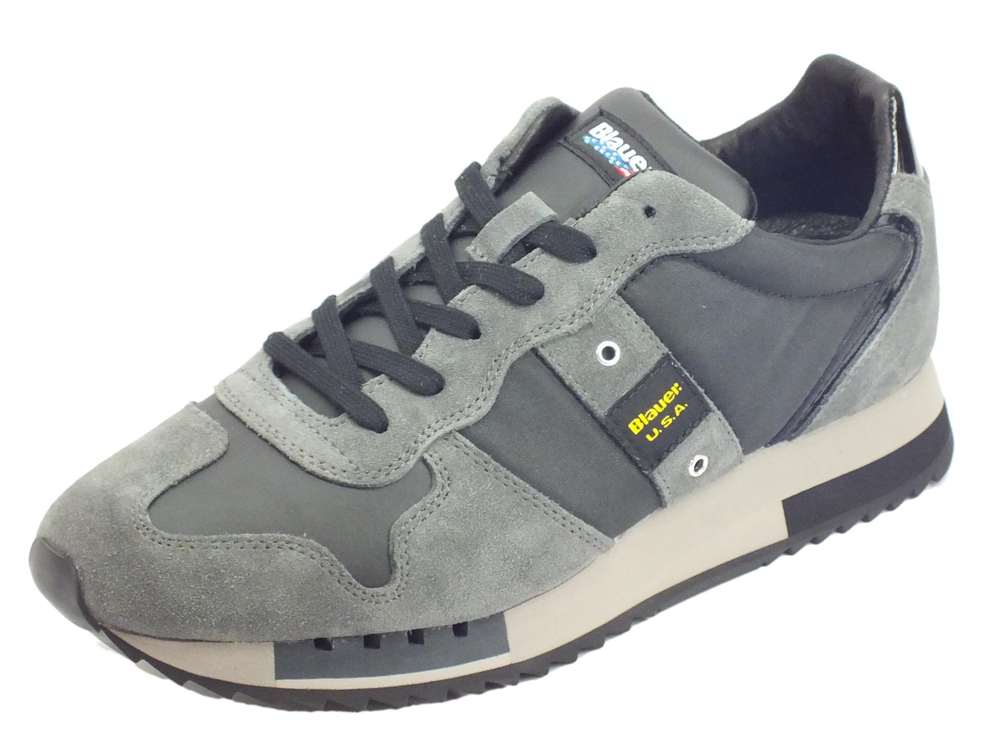 Blauer USA 99FQueens01 TAS Black Sneakers uomo in camoscio e tessuto grigio