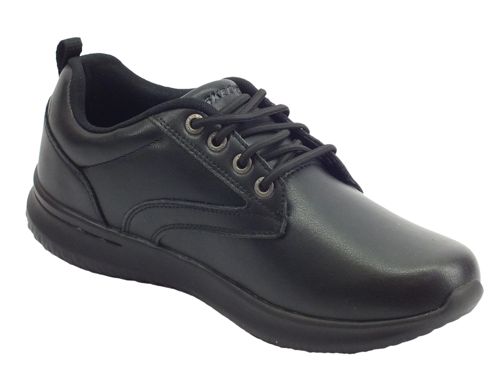 Skechers 65693BBK Delson Antigo Black Scarpe in ecopelle Waterproof