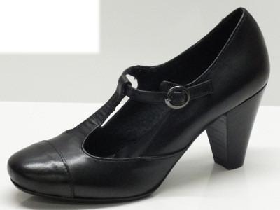 Scarpe per donna modello Charleston in vera pelle made in Italy nero