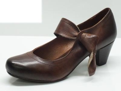 Articolo Scarpe per donna in vera pelle made in Italy colore marrone con tacco