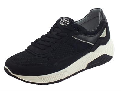 Igi&Co elite edition sport street scarpe uomo in nabuk e tessuto nero