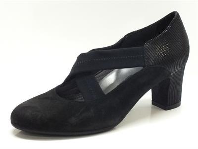 Articolo Scarpe Melluso per donna in camoscio e vernice nero con elastici