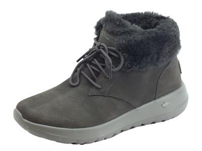 Articolo Scarpe Skechers On-The-Go in camoscio grigio con fodera in eco-pellicciotto grigio