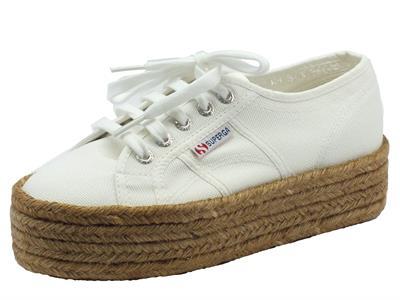 Scarpe sportive Superga per donna colore bianco con zeppa corda