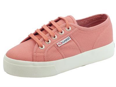 Scarpe Superga per donna in tessuto rosa e zeppa 3,5cm