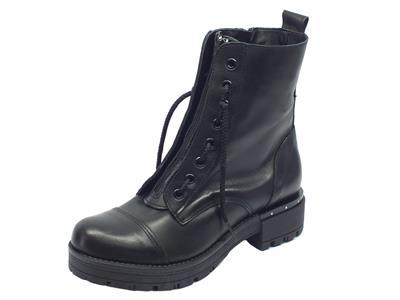 Anfibi per donna Vitiello Calzature in pelle nera con lacci e lampo