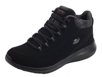 Scarponcini Skechers Just Chill per donna in ecocamoscio nero fodera in tessuto