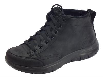 Scarponcini Skechers Warm Wishes per donna in ecopelle nero fodera in pile