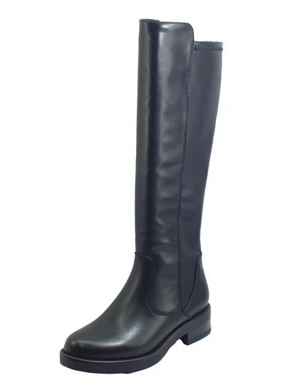 Articolo CafèNOIR FAE125 Nero Stivali per Donna in pelle e tessuto elasticizzato con mezza lampo