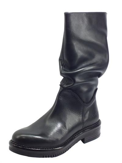 Articolo CafèNOIR FFE145 Nero Stivali per Donna in pelle arricciata con mezza lampo