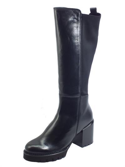 Articolo CafèNoir FGE162 Nero Stivali per Donna in pelle e tessuto elastico nero tacco e plateau