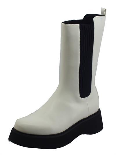 Articolo CAFèNOIR FL9040 Bianco Stivali per Donna in ecopelle doppio elastico laterale