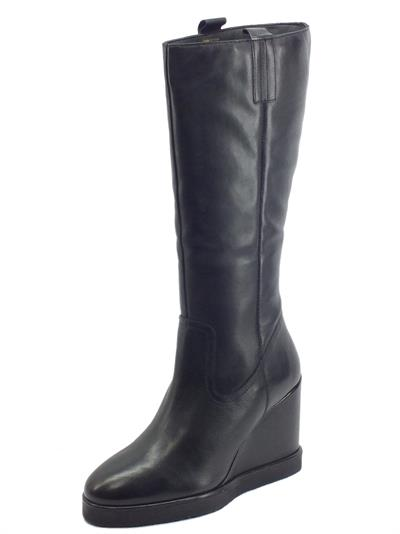 Articolo CafèNOIR GC1210 Nero Stivali per Donna in pelle con zeppa alta