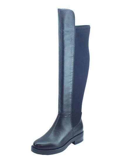 Articolo CafèNoir HEA147 Stivali Donna modello cavallerizzo in pelle e tessuto nero