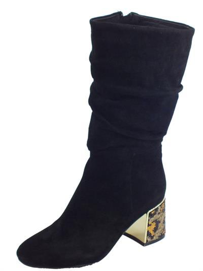 Articolo CafèNoir HLA543 010 Nero Stivali Donna in camoscio nero tacco alto