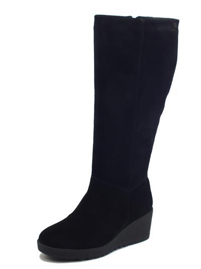 Carmela 68115 Negro Stivali per Donna in camoscio con zeppa media