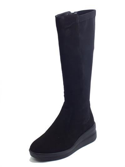 Articolo Cinzia Soft IV13907 Black Stivali per donna in nabuk e tessuto elasticizzato zeppa media