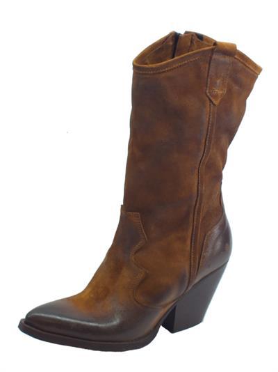 Articolo Deky 026 Stivali Texani per Donna in camoscio spazzolato colore cuoio